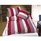 Bettwäsche rot-weiss mit Edelweiss – Duvetbezug – 200x210 cm