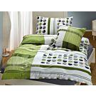 Bettwäsche grün mit Streifen und Punkten – Duvetbezug – 240x240 cm