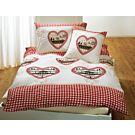 Bettwäsche mit Herzen rot-weiss kariert – Kissenbezug – 65x100 cm