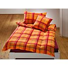 Linge de lit à carreaux, rose-vert sur fond orange – Taie d'oreiller – 65x65 cm