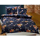 Bettwäsche Blumen-Muster orange auf dunkelblauem Hintergrund – Kissenbezug – 50x70 cm