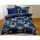 Bettwäsche dunkelblau mit abstraktem buntem Blumen-Muster – Kissenbezug – 65x100 cm