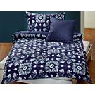 Linge de lit à motif batik sur fond bleu foncé – Taie d'oreiller – 65x100 cm