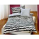 Linge de lit à motif de zig-zag noir sur fond crème – Taie d'oreiller – 50x70 cm