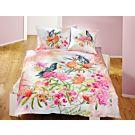 Linge de lit avec perroquet et cacatoès surn beau motif fleuri – Fourre de duvet – 160x210 cm