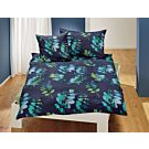 Linge de lit avec motif de feuilles sur fond bleu foncé – Taie d'oreiller – 65x100 cm