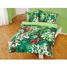 Linge de lit avec motifs de jungle en différents tons de vert – Taie d'oreiller – 65x100 cm