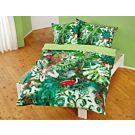 Linge de lit avec motifs de jungle en différents tons de vert – Fourre de duvet – 160x210 cm