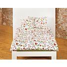 Linge de lit bio orné d'un motif fleuri dans des tons rouille et vert – Taie d'oreiller – 65x100 cm