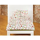 Linge de lit bio orné d'un motif fleuri dans des tons rouille et vert – Fourre de duvet – 200x210 cm