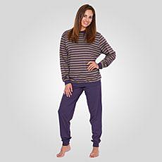 Pyjama avec bas uni et haut rayé