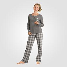 Damen-Pyjama mit karierter Hose
