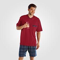 Pyjama Shorty rouge-bleu avec short imprimé