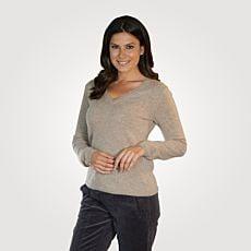 Damen Cashmere Pullover mit V-Ausschnitt