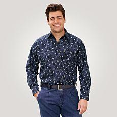 Chemise pour hommes à manches longues et imprimé graphique, marine