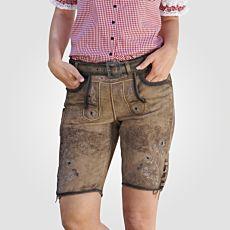 Pantalon bavarois en cuir pour dames brun clair