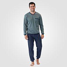 Calida Herren Pyjama kariert blau
