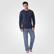 Pyjama Calida bleu avec pantalon à carreaux pour hommes