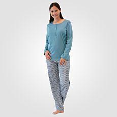 Calida Damen Pyjama Baumwolle gemustert