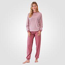 Calida Damen Pyjama altrosa-weiss gemustert