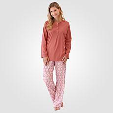 Calida Damen Pyjama langarm gemustert rost