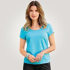 Elastisches Rundhals T-Shirt für Damen