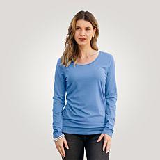 Shirt confortable à manches longues et encolure arrondie