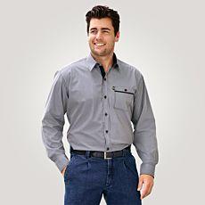 Chemise à manches longues et carreaux, marine