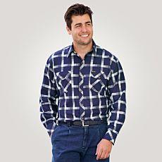 Chemise à manches longues et carreaux, bleu