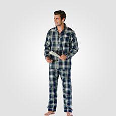 Herren Pyjama kariert blau