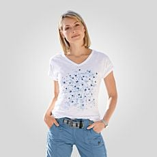 V-Neck T-Shirt mit Sommerprints