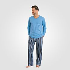 Pyjama blau mit gestreifter Hose