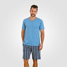 Pyjama kurz mit gestreifter Hose