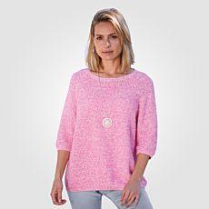 Pull-over en tricot à manches 3/4 pour dames
