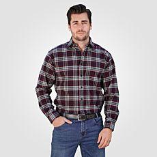 Chemise en flanelle pour hommes à carreaux, bordeaux