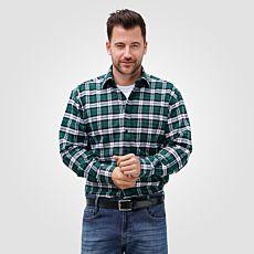 Chemise en flanelle à carreaux, vert-blanc
