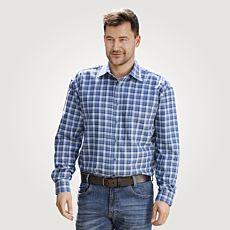 Chemise à longues manches et carreaux pour hommes, bleu