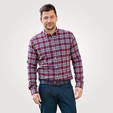 Kariertes Herren-Flanellhemd mit Button-Down-Kragen