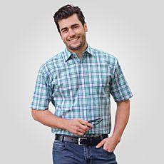 Chemise à manches courtes hommes, menthe-blanc à carreaux