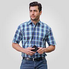 Chemise à manches courtes hommes, bleu-brun-turquoise