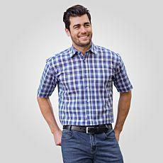 Kurzarmhemd Herren blau-weiss