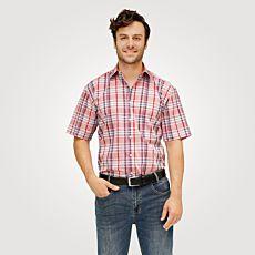 Chemise à manches courtes et carreaux, rouge