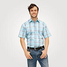 Chemise à manches courtes et carreaux, turquoise