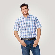 Chemise à manches courtes, blanc-bleu-jaune