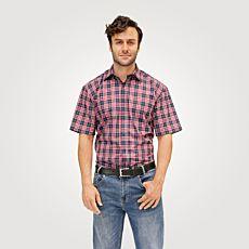 Chemise à manches courtes et carreaux, marine-rouge