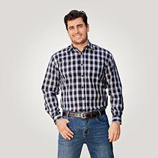Chemise à manches longues et carreaux, noir-blanc