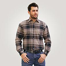 Chemise en flanelle, brun-noir à carreaux