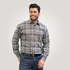 Chemise en flanelle, gris à carreaux