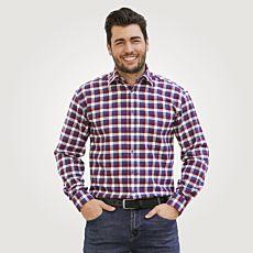 Chemise en flanelle, bordeaux-bleu à carreaux