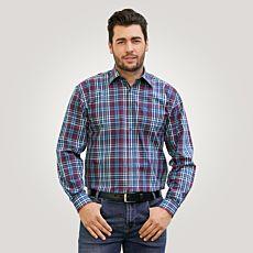 Chemise à longues manches, bleu-rouge à carreaux